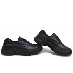 Анатомични български обувки от естествена кожа НЛМ 323-187 черен | Равни дамски обувки