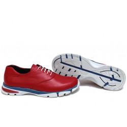 Анатомични български обувки от естествена кожа НЛМ 323-КРОС червен | Равни дамски обувки
