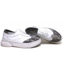 Анатомични български обувки от естествена кожа НЛМ 325-187 бял-змия | Равни дамски обувки