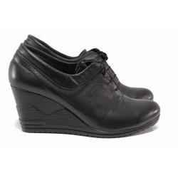 Български дамски обувки, естествена кожа, платформа, анатомични / Ани 119-15462 черен / MES.BG