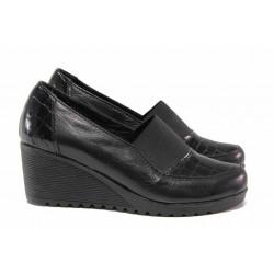 Дамски обувки на платформа, естествена кожа, анатомични, ластик / Ани 166-1707 черен / MES.BG