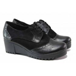 Дамски обувки, платформа, анатомични, естествена кожа, връзки / Ани 274-8612 черен / MES.BG