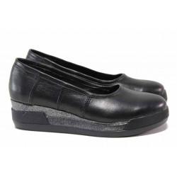 Български дамски обувки, естествена кожа, анатомични / Ани 258-8218 черен / MES.BG