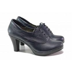 Български анатомични обувки, естествена кожа, висок ток / Ани 151-6843 син / MES.BG