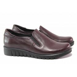 Равни дамски обувки, естествена кожа, анатомично ходило, ластик / Ани 280-8526 бордо / MES.BG