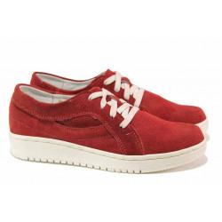 Дамски ортопедични обувки, естествен велур, 100% удобство, връзки / Ани 257-1608 червен / MES.BG