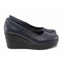 Анатомични дамски обувки, висока платформа, естествена кожа / Ани 302-96145 т.син