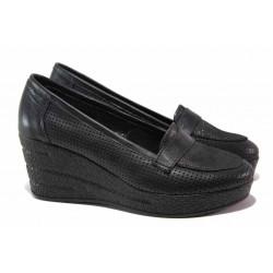 Български анатомични обувки, платформа, естествена кожа на перфорации / Ани 306-96145 черен / MES.BG