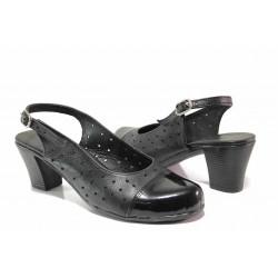 Анатомични дамски обувки, изцяло от естествена кожа, отворена пета / Ани 267-1705 черен / MES.BG