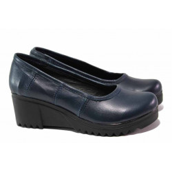 Дамски обувки на платформа, естествена кожа, анатомични / Ани 258-8612 син / MES.BG