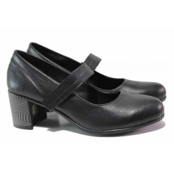 Български дамски обувки, естествена кожа с велур, каишка през свода, велкро лепенка / Ани 298-527 черен / MES.BG