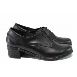 Анатомични български дамски обувки от естествена кожа НЛ 183-7251 черен | Дамски обувки на среден ток