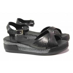 Български дамски сандали с кръстосани каишки, естествена кожа, анатомични, платформа / Ани 240-8218 черен-бакър / MES.BG