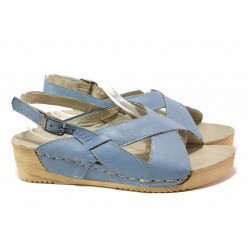 Български дамски сандали с кръстосани ленти, анатомични, естествена кожа, велкро лепенки / Ани 242-14302 син / MES.BG