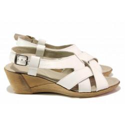 Български дамски сандали с кръстосани ленти, естествена кожа, закопчаване-катарама / Ани 179-14311 бял / MES.BG