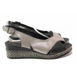 Български дамски сандали от естествена кожа, анатомични, закопчаване-катарама / Ани 285-18206 сив-черен / MES.BG