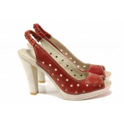 Български дамски сандали на висок ток, естествена кожа, естествени стелка и хастар / Ани 205-7976 червен / MES.BG