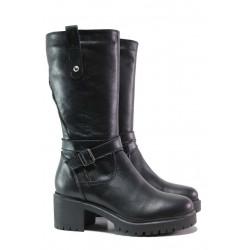 Дамски ботуши, естествена кожа, среден ток, платформа / Ани Nansi-03 черен / MES.BG