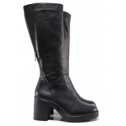 Стилни ботуши, дамски, естествена кожа, платформа, среден ток, регулиране на ширината / Ани Balli-05 черен кожа / MES.BG