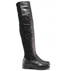 Дамски ботуши, чизми, естествена кожа, равни, привличат погледа, подчертават извивките на крака / Ани Treysi-02 черен / MES.BG