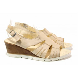 Български дамски сандали, анатомични, естествена кожа / Ани 307-96199 бежов / MES.BG