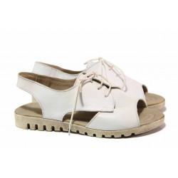 Кожени дамски сандали с актуално-моден дизайн, анатомични, връзки / Ани 266-16121 бял / MES.BG