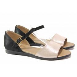 Равни дамски сандали, затворена пета, естествена кожа, анатомия / Ани MARINA-03 черен-розов / MES.BG