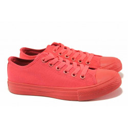 Дишащи дамски кецове, спортни обувки, еластично ходило, връзки / Ани 30377-8 червен / MES.BG
