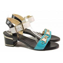 Български дамски сандали, свежи летни цветове, естествена кожа-лак / Ани 1809 бял-син-черен / MES.BG