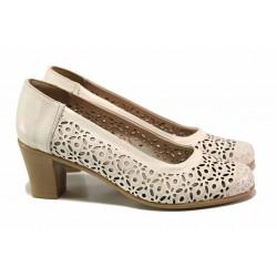 Български дамски обувки за лятото, декоративна перфорация, среден ток, анатоммични / Ани 156-2 бежов / MES.BG