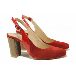 Елегантни дамски обувки, висок ток, естествен велур, отворена пета / Ани 61740 червен велур / MES.BG