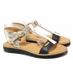 Български дамски сандали, анатомични, велкро закопчаване, естествена кожа / Ани 2640 черен-бял-злато / MES.BG