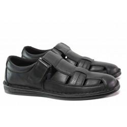 Мъжки сандали с прорези, естествена кожа, велкро лепенки / АБ CY06-20 черен / MES.BG
