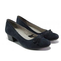 Дамски обувки от естествен велур Jana 8-22309-22 син | Немски обувки на среден ток