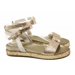 Комфортни дамски сандали, каишка около глезена, естествена кожа / Ани 2680 злато