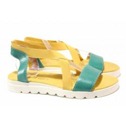 Равни дамски сандали, естествена кожа, ластици за удобно обуване / Ани 2610 тюркоаз-жълт