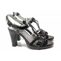 Стилен модел дамски сандали, интересно преплетени каишки, висок ток, естествена кожа-лак / Ани 42703 черен лак