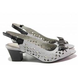 Български дамски сандали на среден ток, красива перфорация, декоративна панделка / Ани 51351 сив