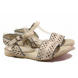 Анатомични дамски сандали, равно ходило, естествена кожа с перфорация / Ани 52209 бежов