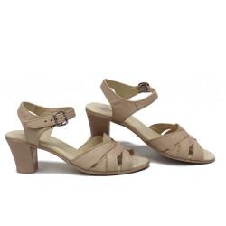 Анатомични сандали, дамски, мека естествена кожа, закопчаване с катарама, удобен ток / НЛМ 202-1705 сахара