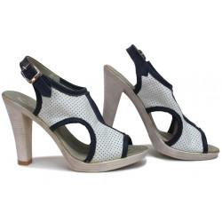 Стилни сандали, дамски, анатомични, естествена кожа, катарама / НЛМ 210-7976 бял-син