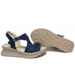 Дамски сандали, ежедневни, на платформа, естествена кожа, катарама, анатомични / НЛМ 310-359 син