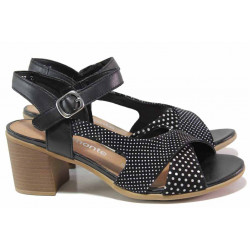 Немски дамски сандали от естествена кожа, велкро лепенки, анатомични / Remonte D2151-02 черен точки