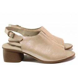 Немски анатомични сандали, среден ток, изцяло от естествена кожа, велкро лепенки / Remonte R8753-31 розов