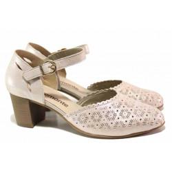 Анатомични немски обувки с велкро закопчаване, изцяло от естествена кожа, велкро лепенки / Remonte D0829-60 розов