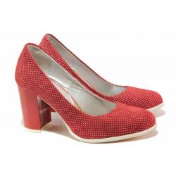 Стилни дамски обувки, висококачествен естествен велур, висок ток / Ани 2340 червен