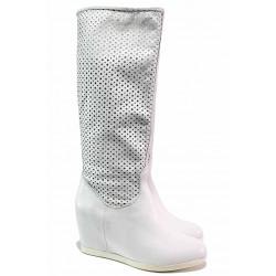 Летни ботуши, бели, висока платформа, естествена кожа / Ани Brillo 2023 бял