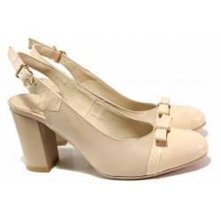 Анатомични дамски обувки, естествени кожа и лак, отворена пета / Ани 71777 бежов