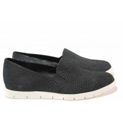 Дамски спортни обувки, естествен набук, анатомично ходило / Ани 2137 черен точки