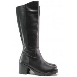 Черни ботуши, дамски, естествена кожа, на ток, ежедневен модел / Ани Monako-10 черен
